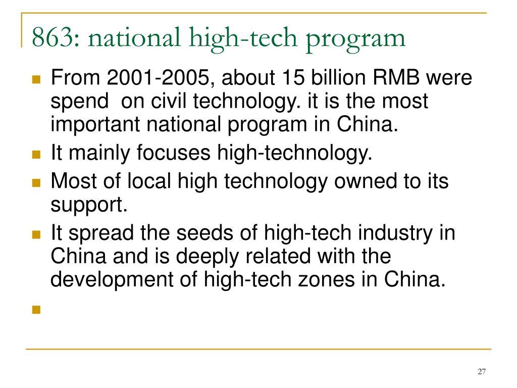 863: national high-tech program