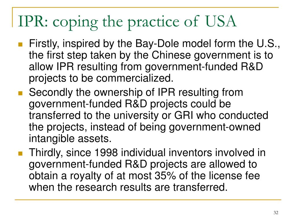 IPR: coping the practice of USA