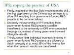 ipr coping the practice of usa