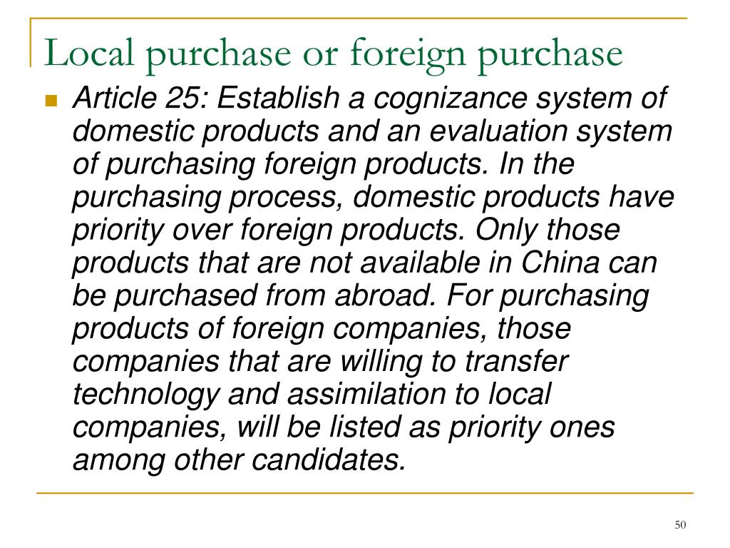 Local purchase or foreign purchase