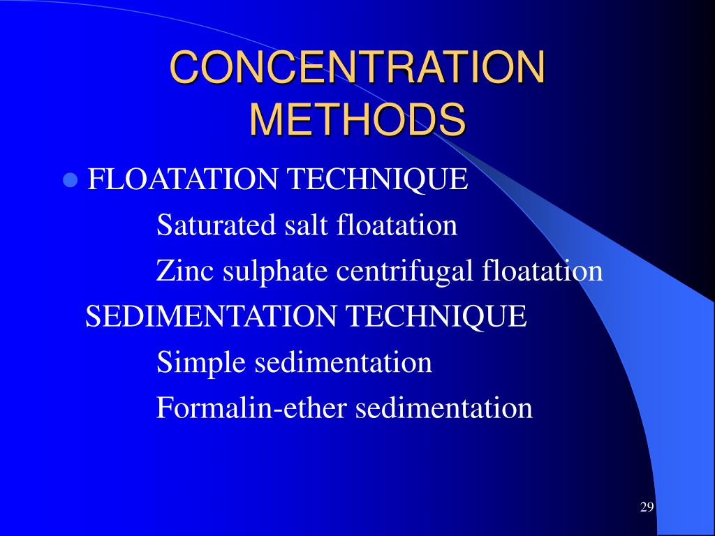 CONCENTRATION METHODS