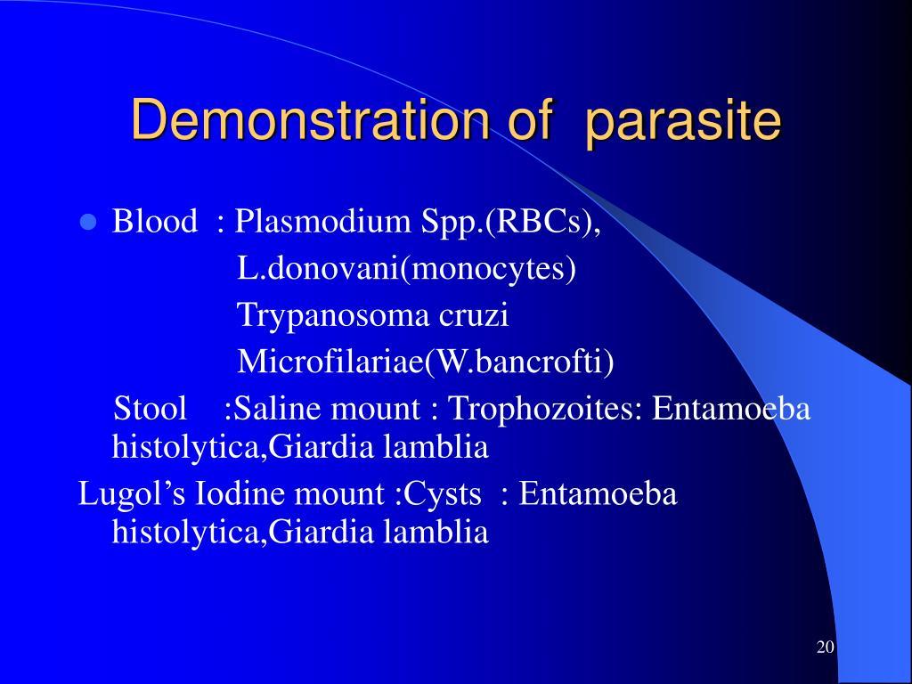 Demonstration of  parasite