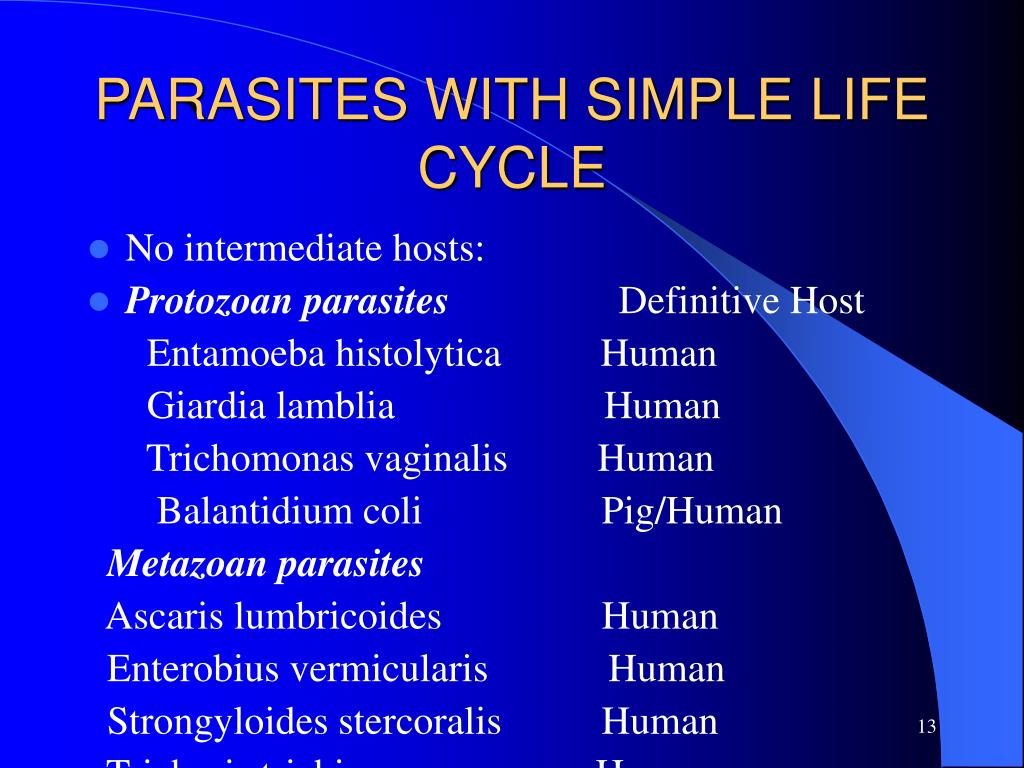 PARASITES WITH SIMPLE LIFE CYCLE
