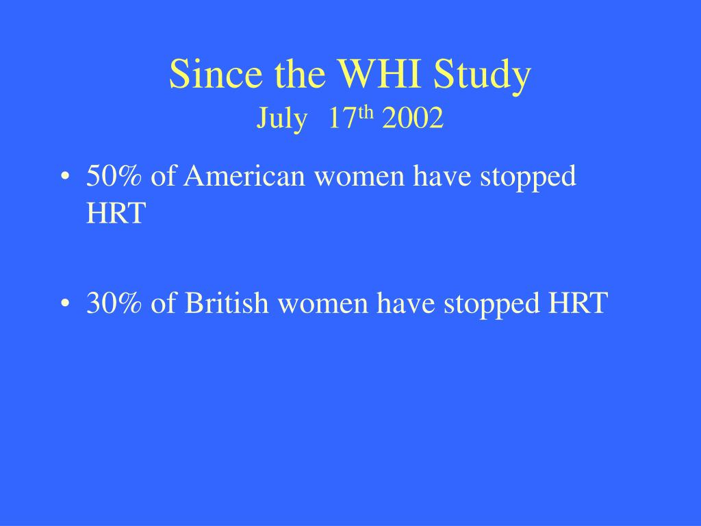 Since the WHI Study