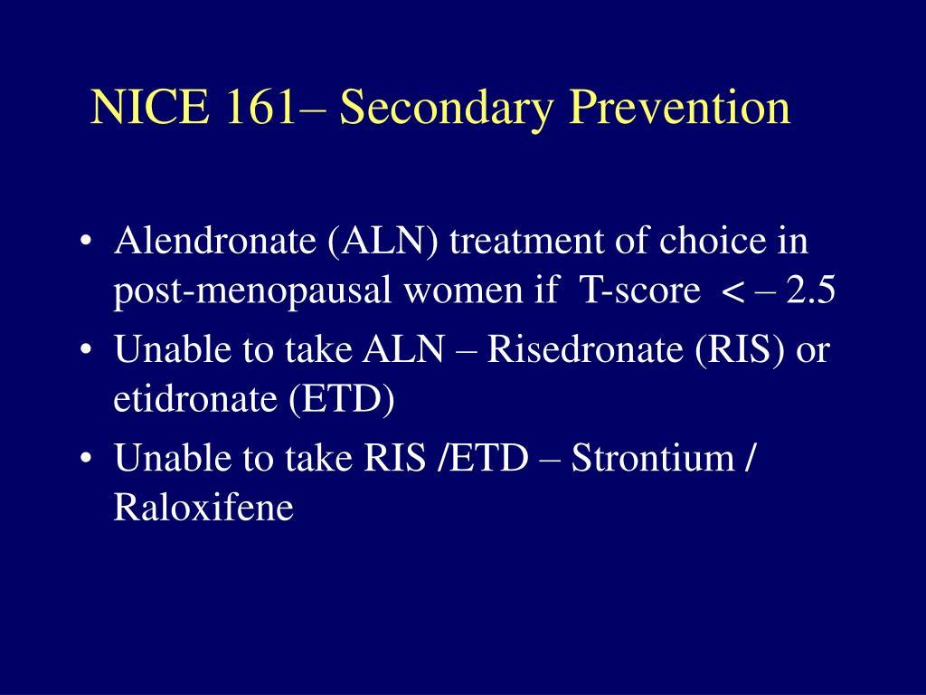 NICE 161– Secondary Prevention
