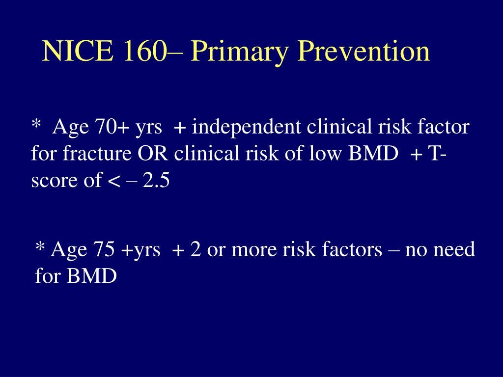 NICE 160– Primary Prevention