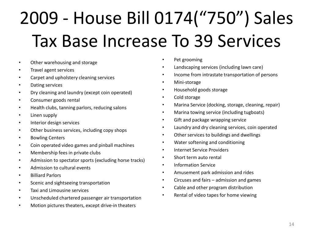 """2009 - House Bill 0174(""""750"""") Sales Tax Base Increase To 39 Services"""