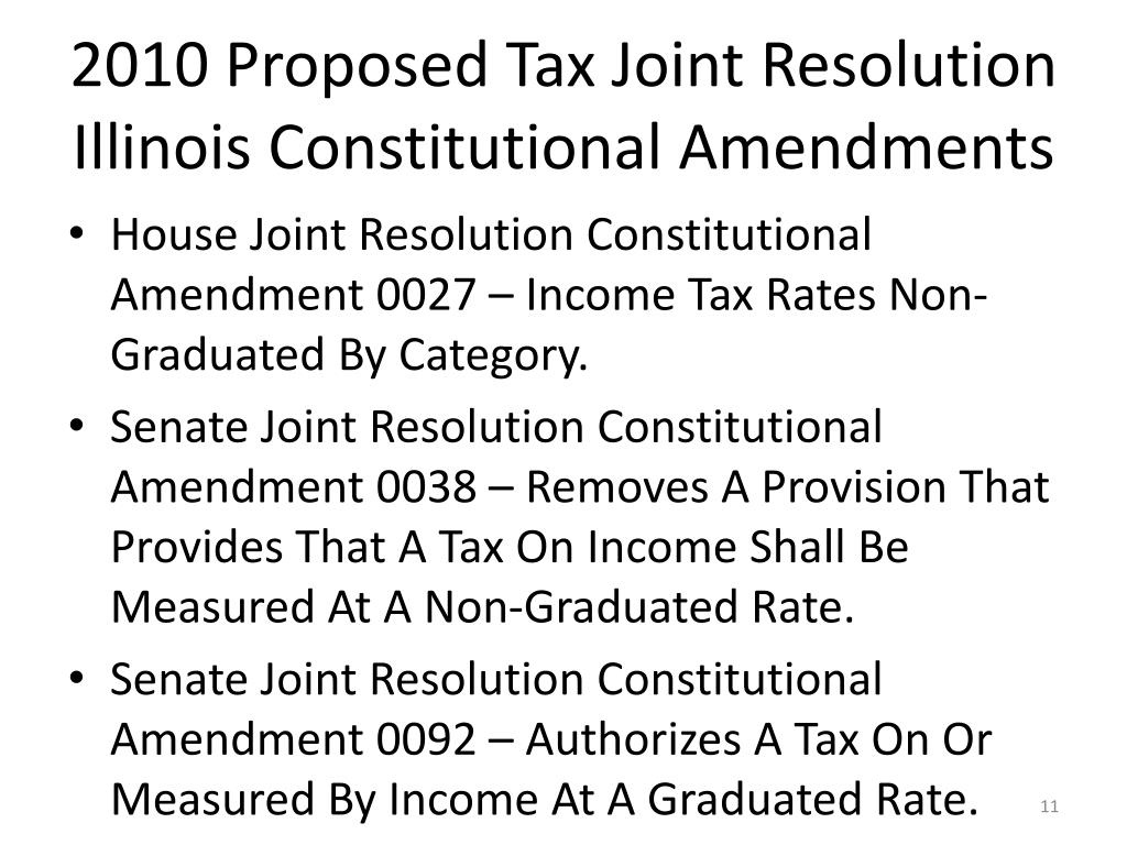 2010 Proposed Tax Joint Resolution Illinois Constitutional Amendments