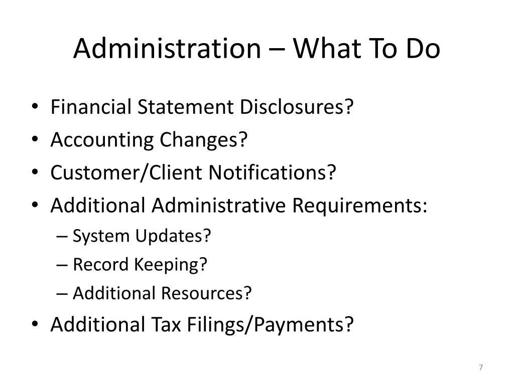 Administration – What To Do