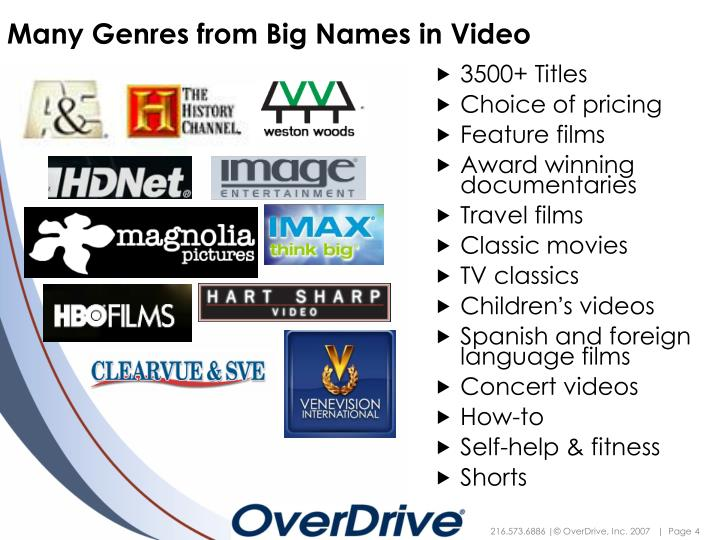 Many Genres from Big Names in Video