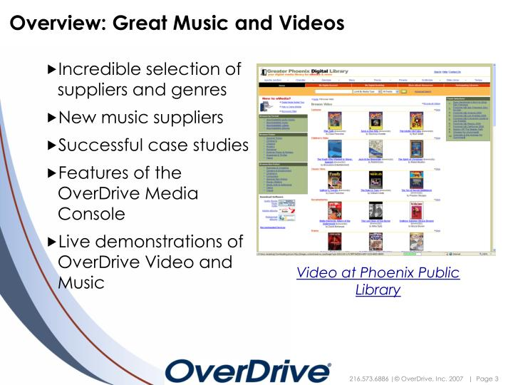Overview great music and videos