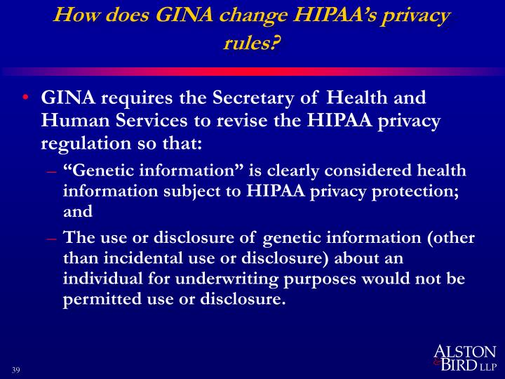 How does GINA change HIPAA's privacy rules?