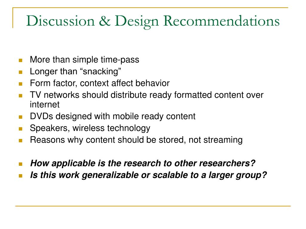Discussion & Design Recommendations