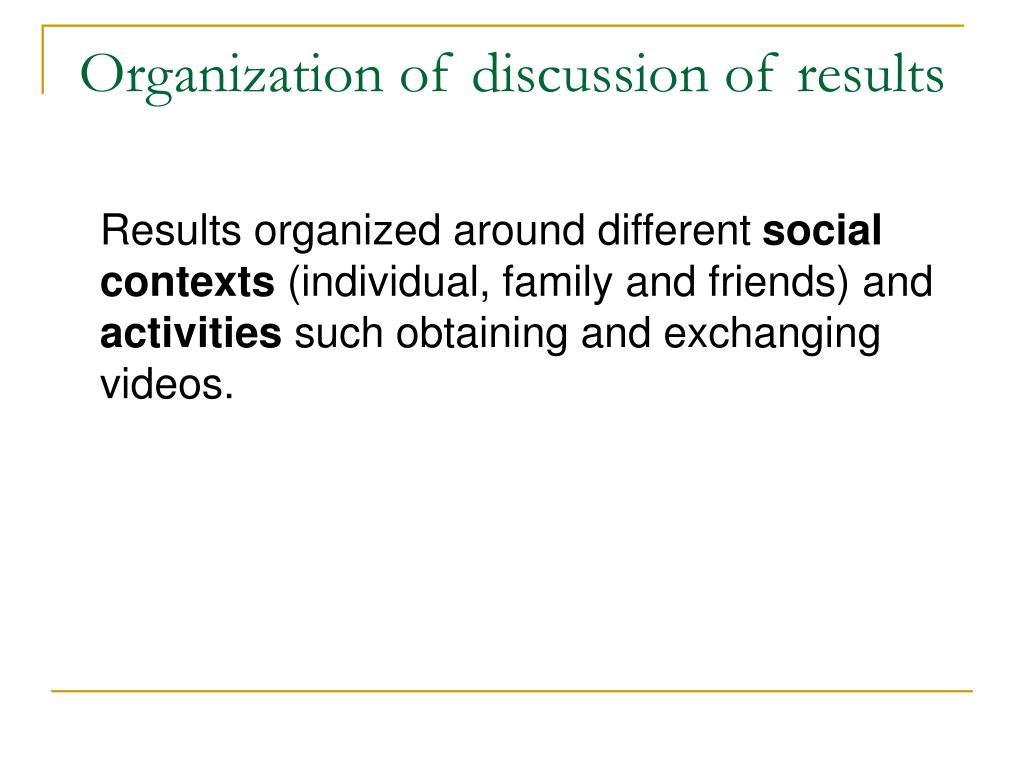 Organization of discussion of results