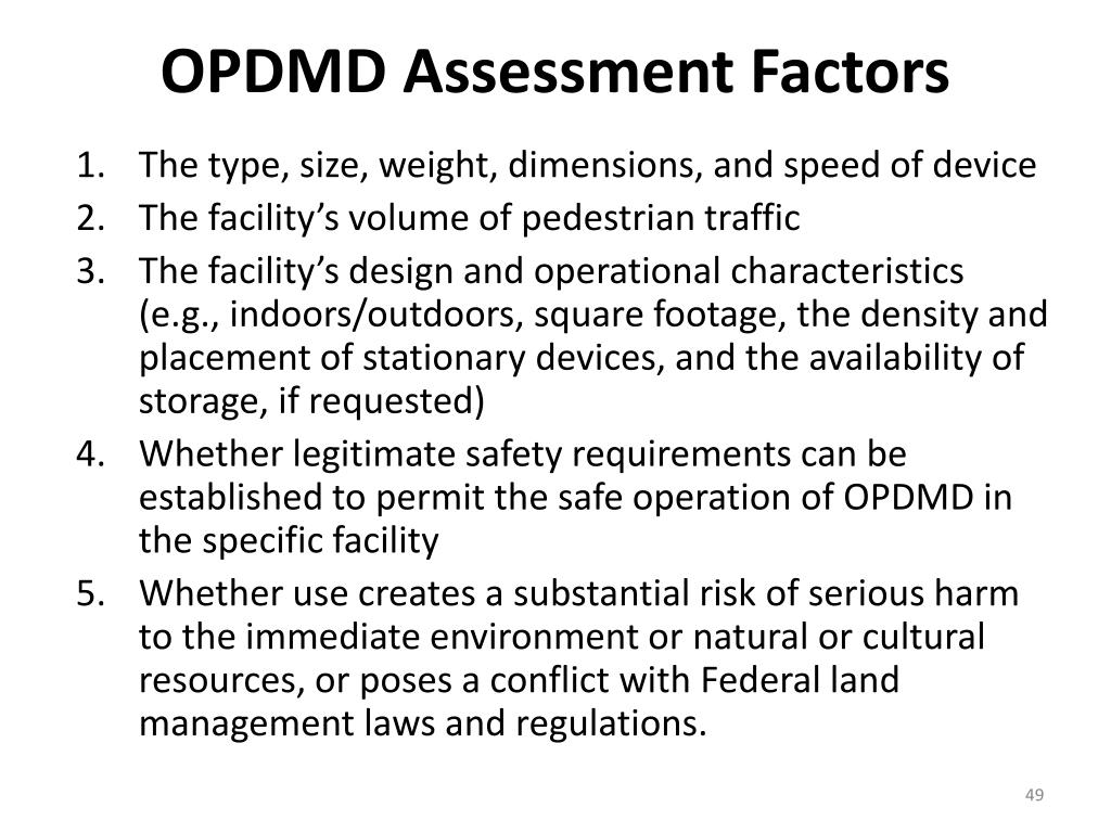 OPDMD Assessment Factors