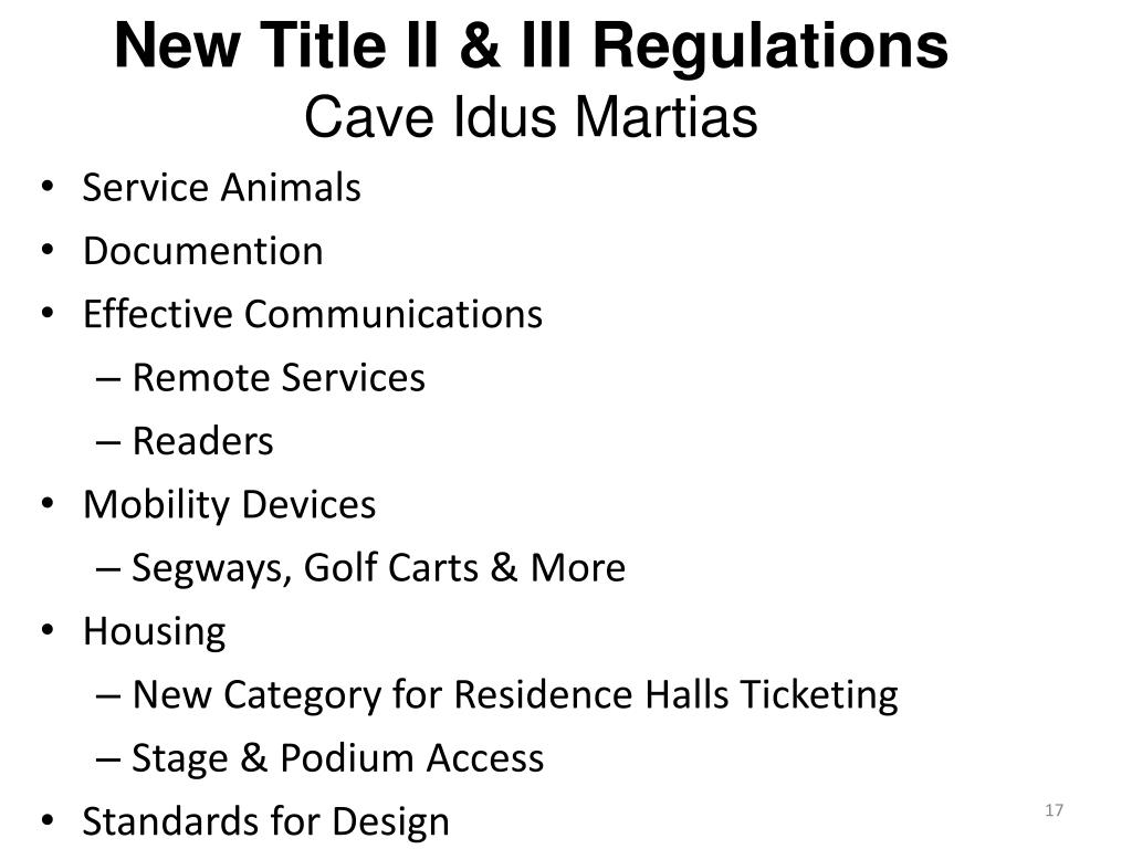 New Title II & III Regulations