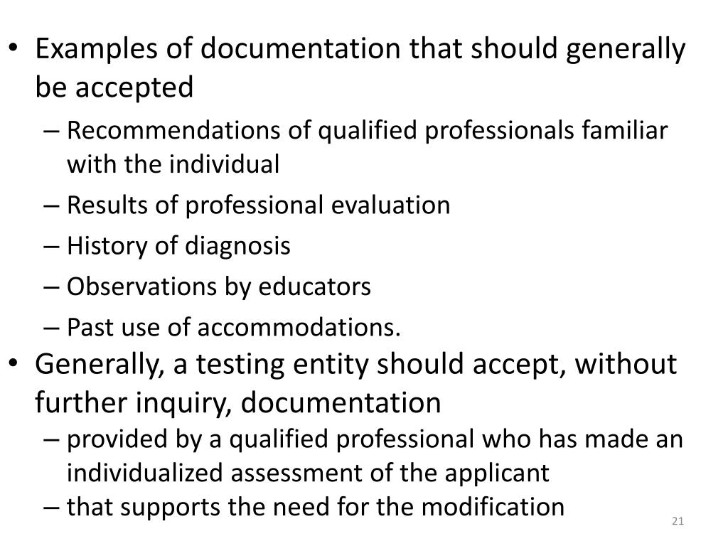 Examples of documentation that should generally be accepted
