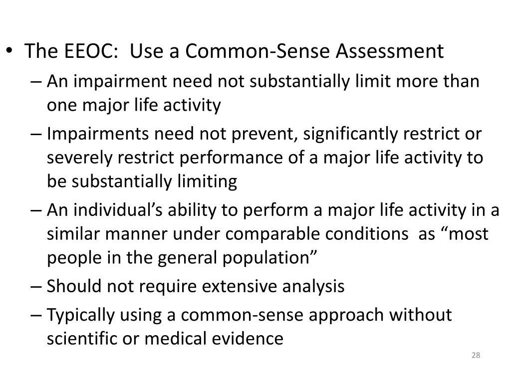 The EEOC:  Use a Common-Sense Assessment