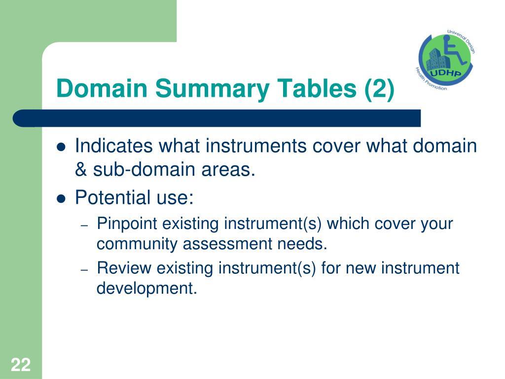 Domain Summary Tables (2)
