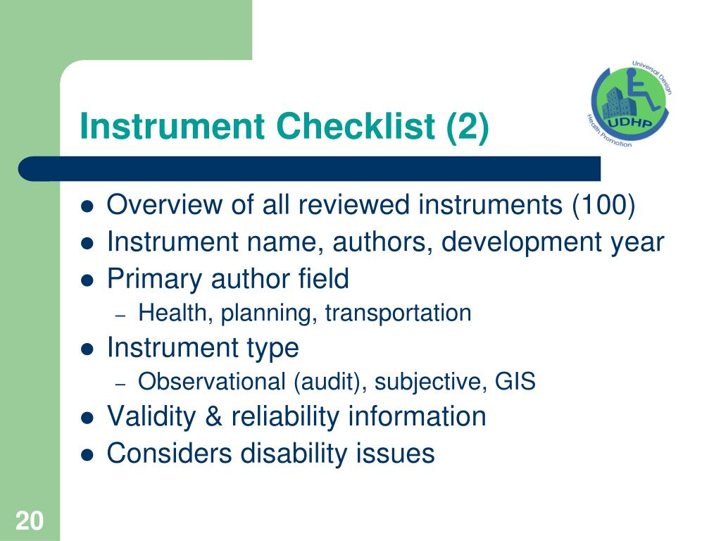 Instrument Checklist (2)