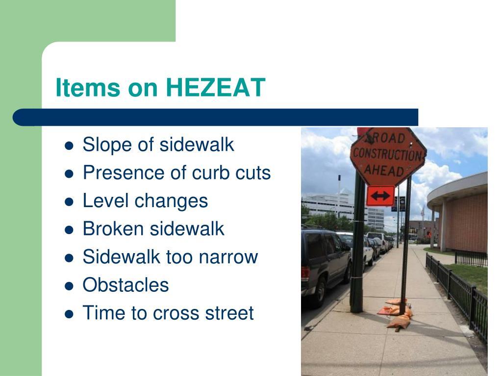 Items on HEZEAT