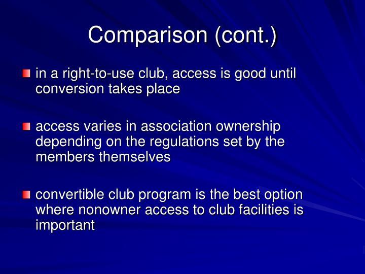 Comparison (cont.)