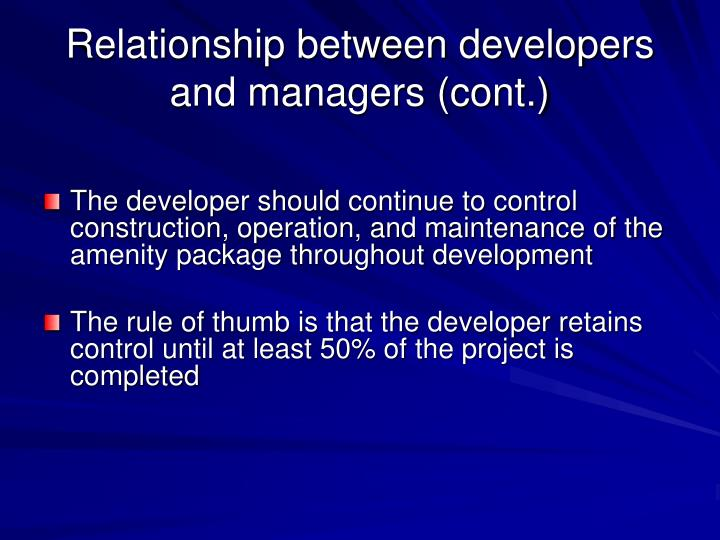 Relationship between developers and managers (cont.)