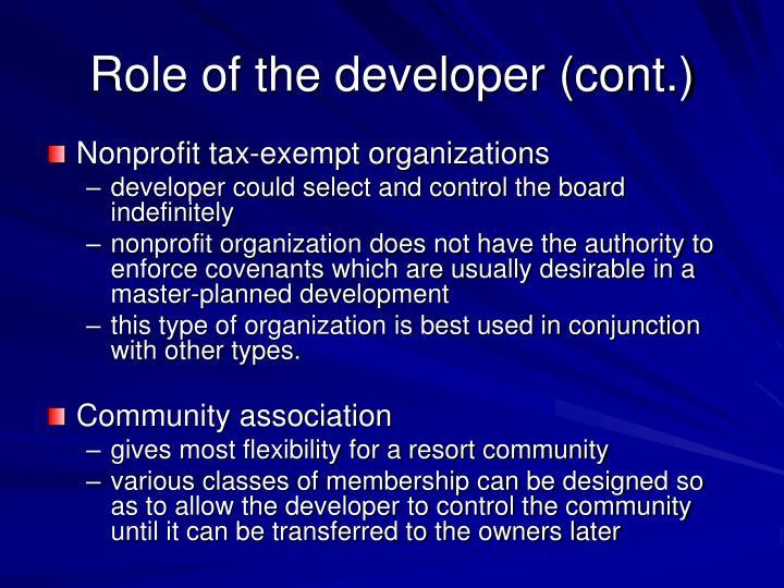 Role of the developer (cont.)