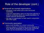 role of the developer cont