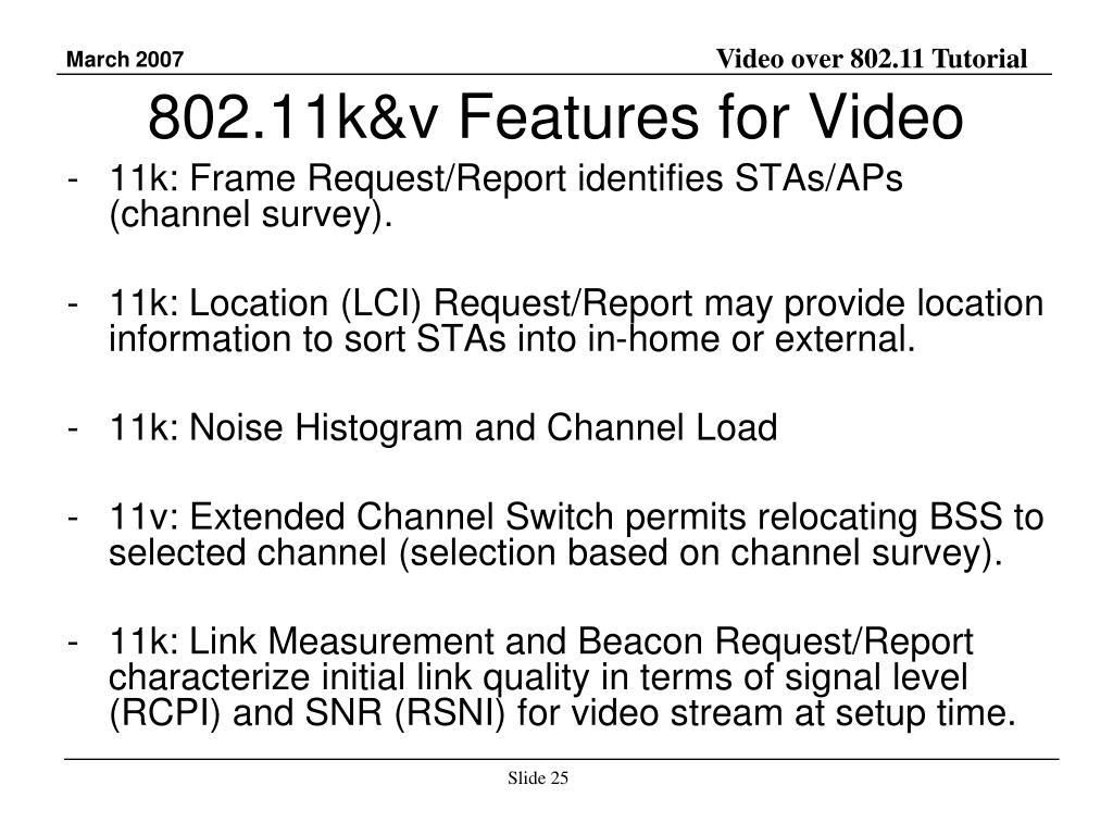 802.11k&v Features for Video