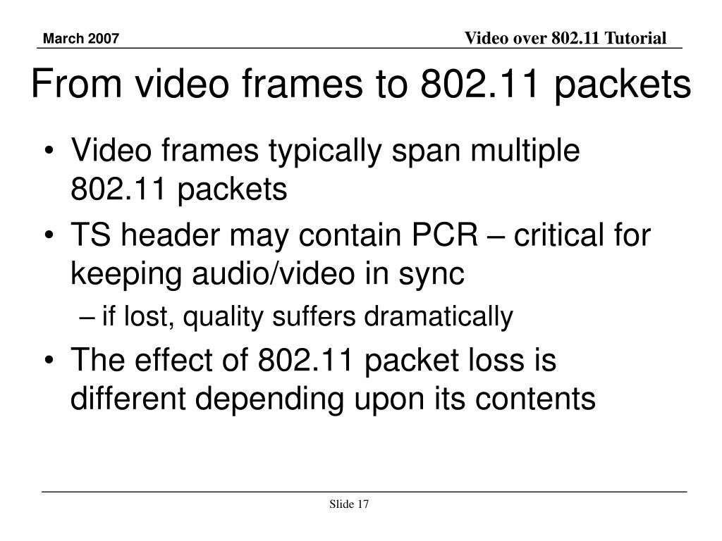 From video frames to 802.11 packets