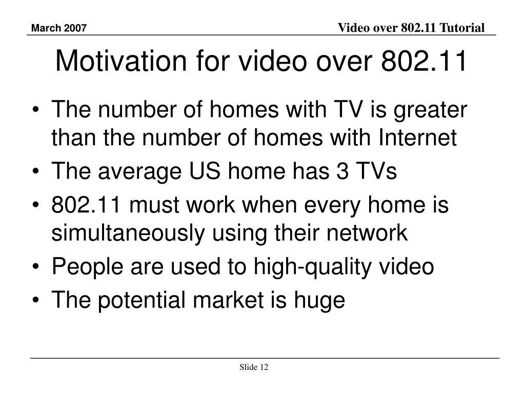 Motivation for video over 802.11