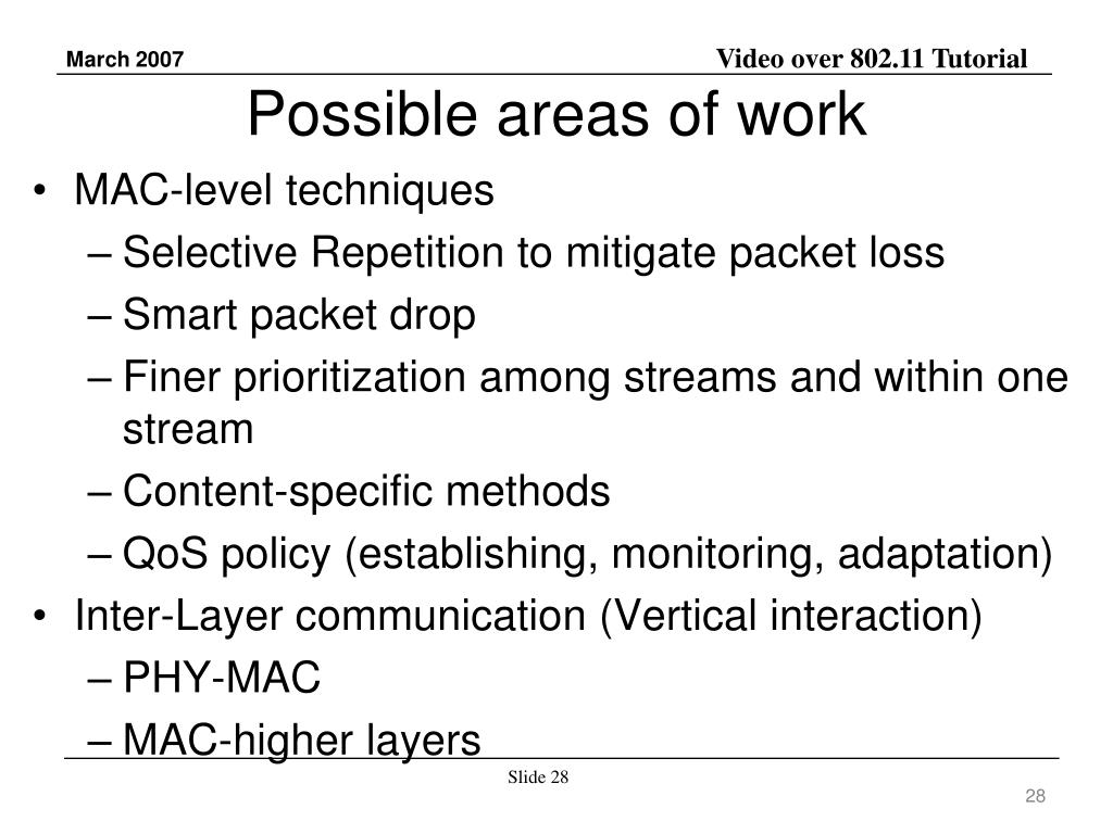 Possible areas of work