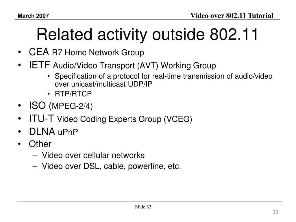 Related activity outside 802.11