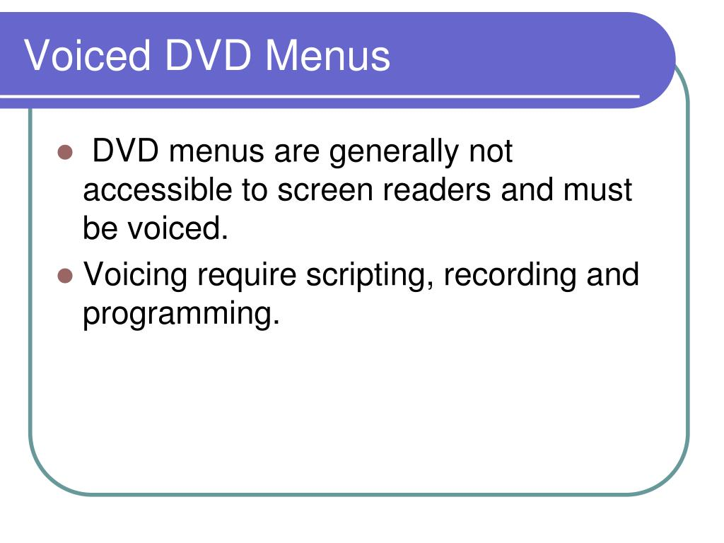 Voiced DVD Menus
