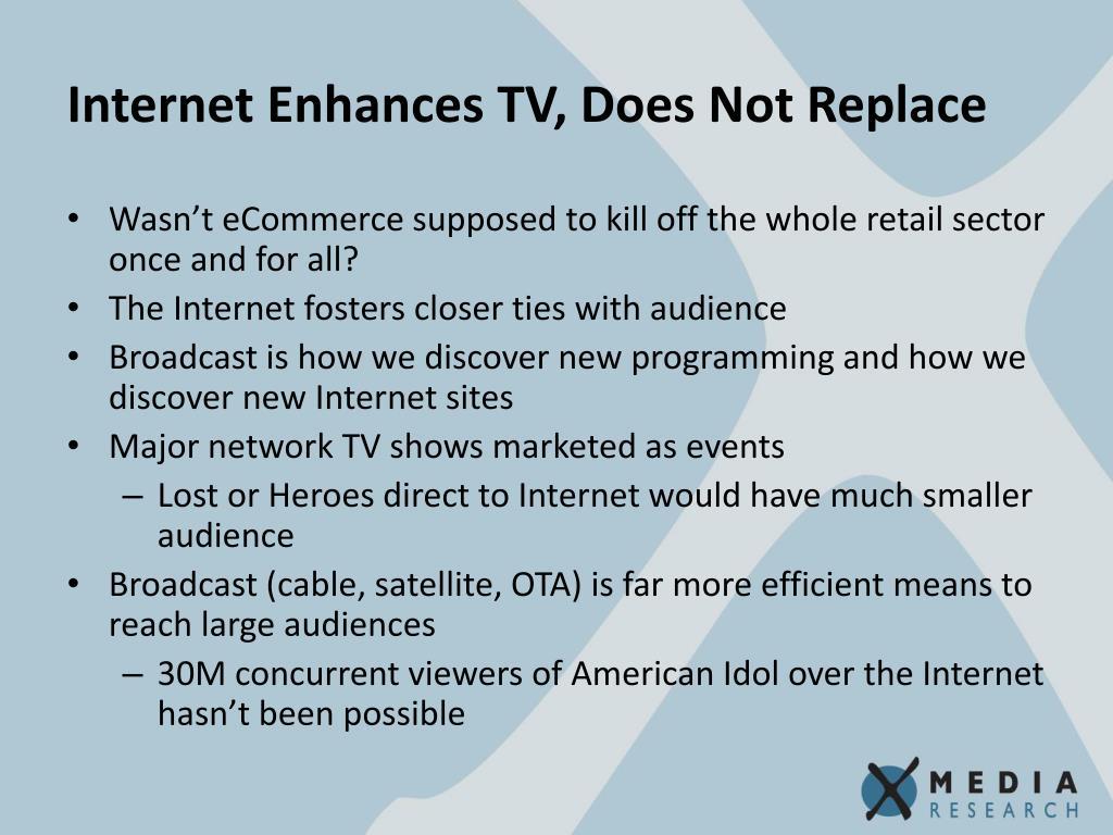 Internet Enhances TV, Does Not Replace