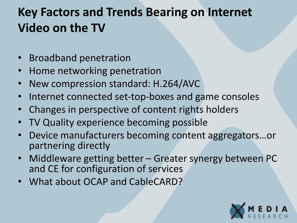 Key Factors and Trends Bearing on Internet Video on the TV