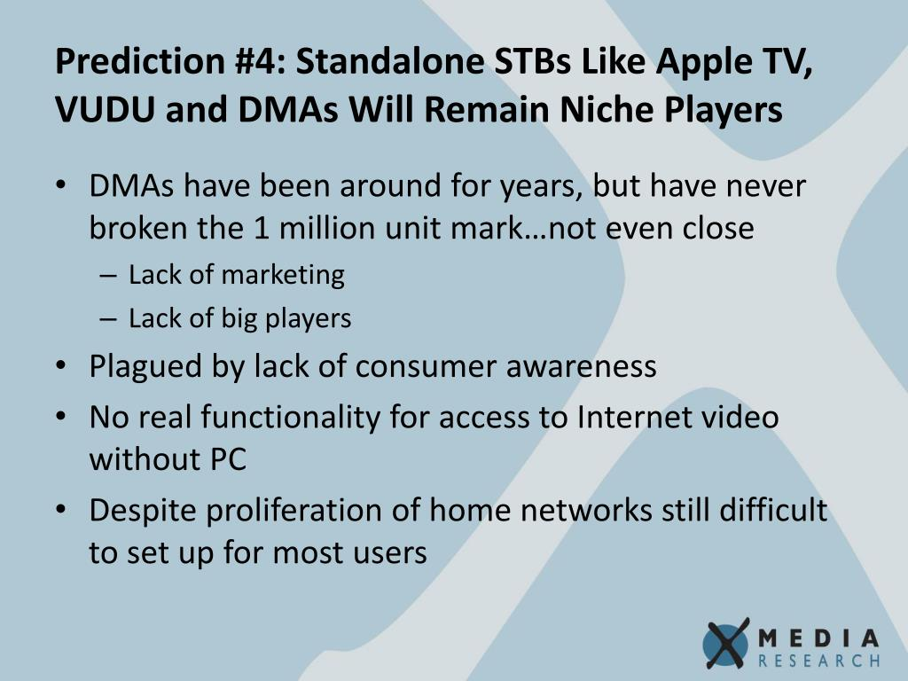 Prediction #4: Standalone STBs Like Apple TV, VUDU and DMAs Will Remain Niche Players