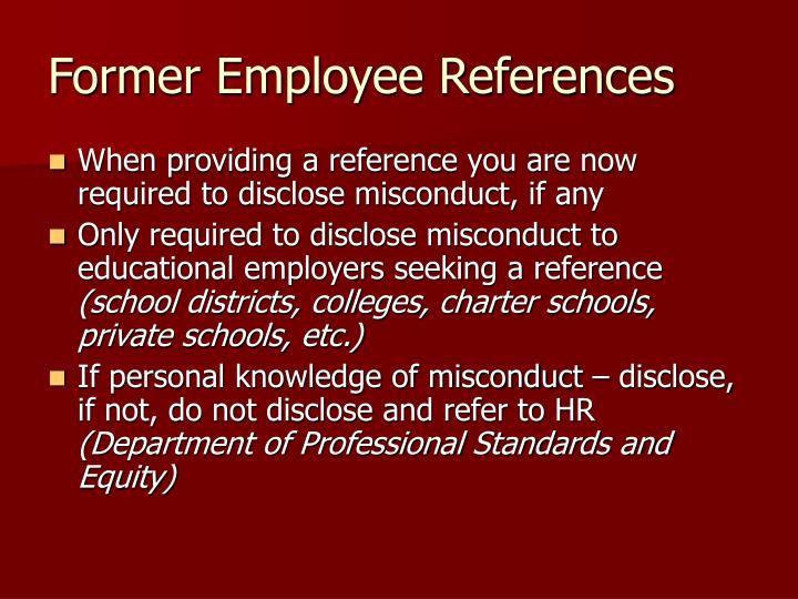 Former Employee References