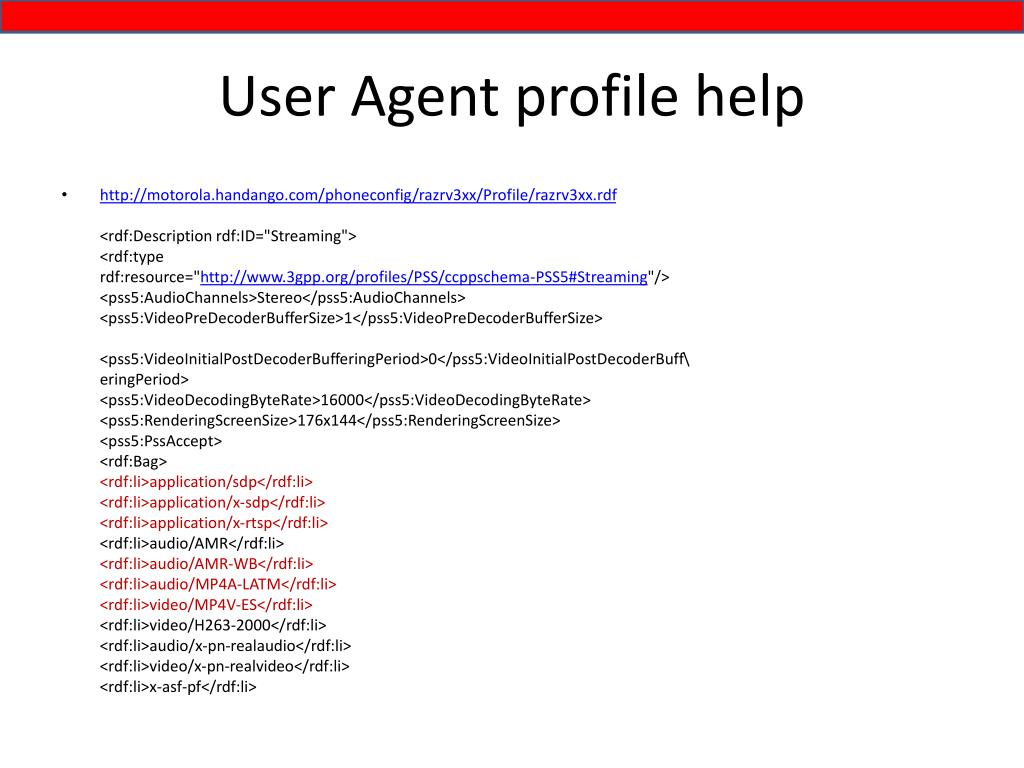 User Agent profile help