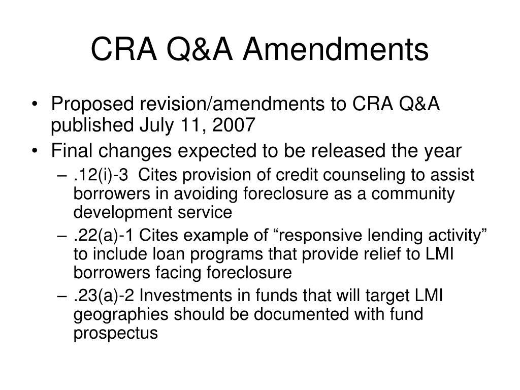 CRA Q&A Amendments