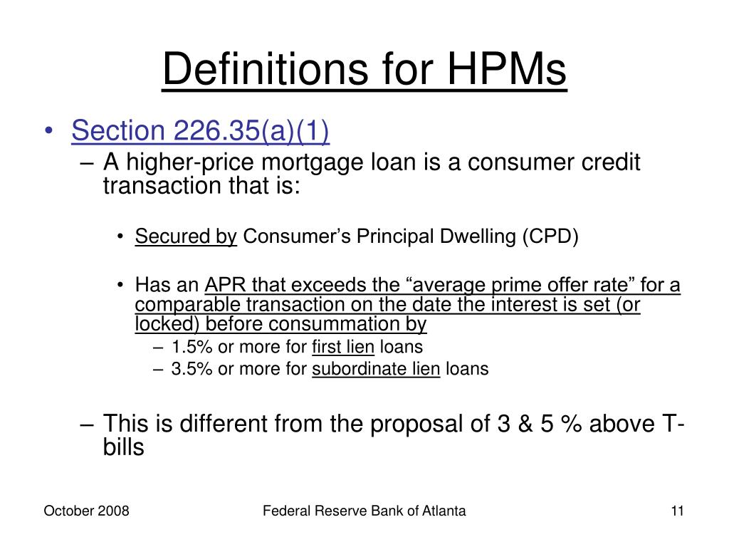 Definitions for HPMs