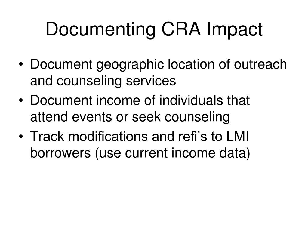 Documenting CRA Impact