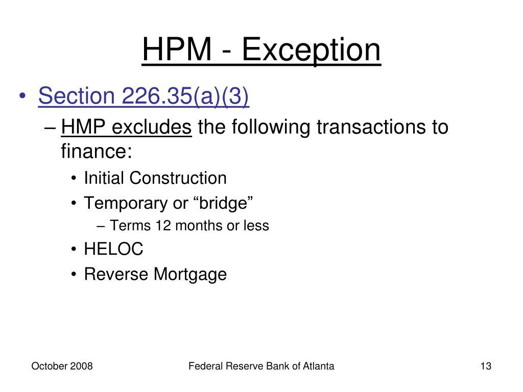 HPM - Exception