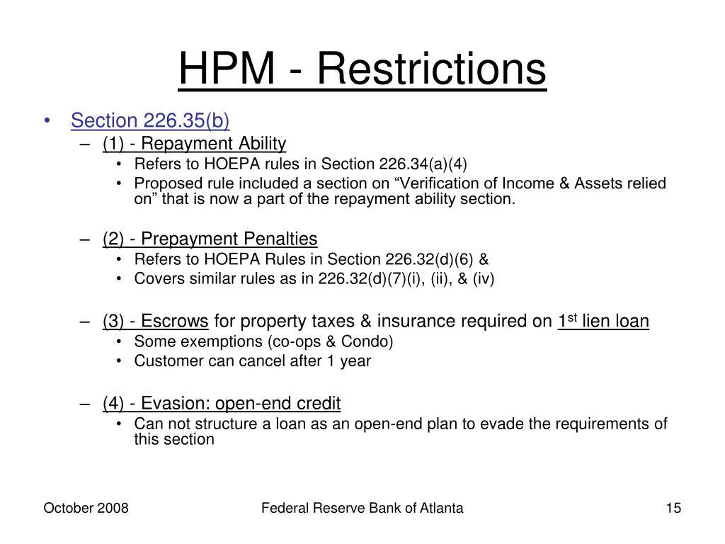 HPM - Restrictions