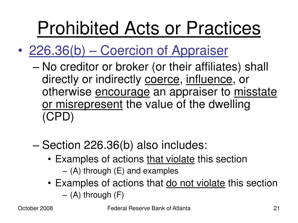 Prohibited Acts or Practices