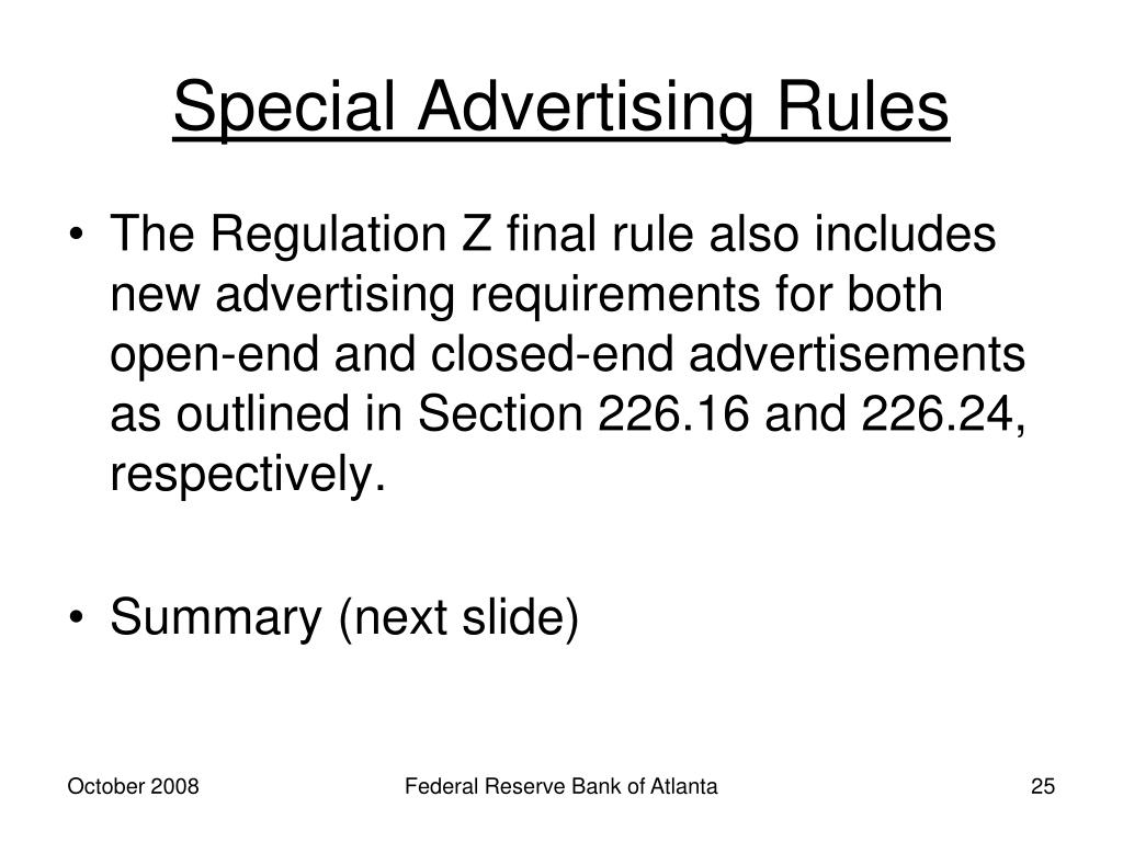 Special Advertising Rules