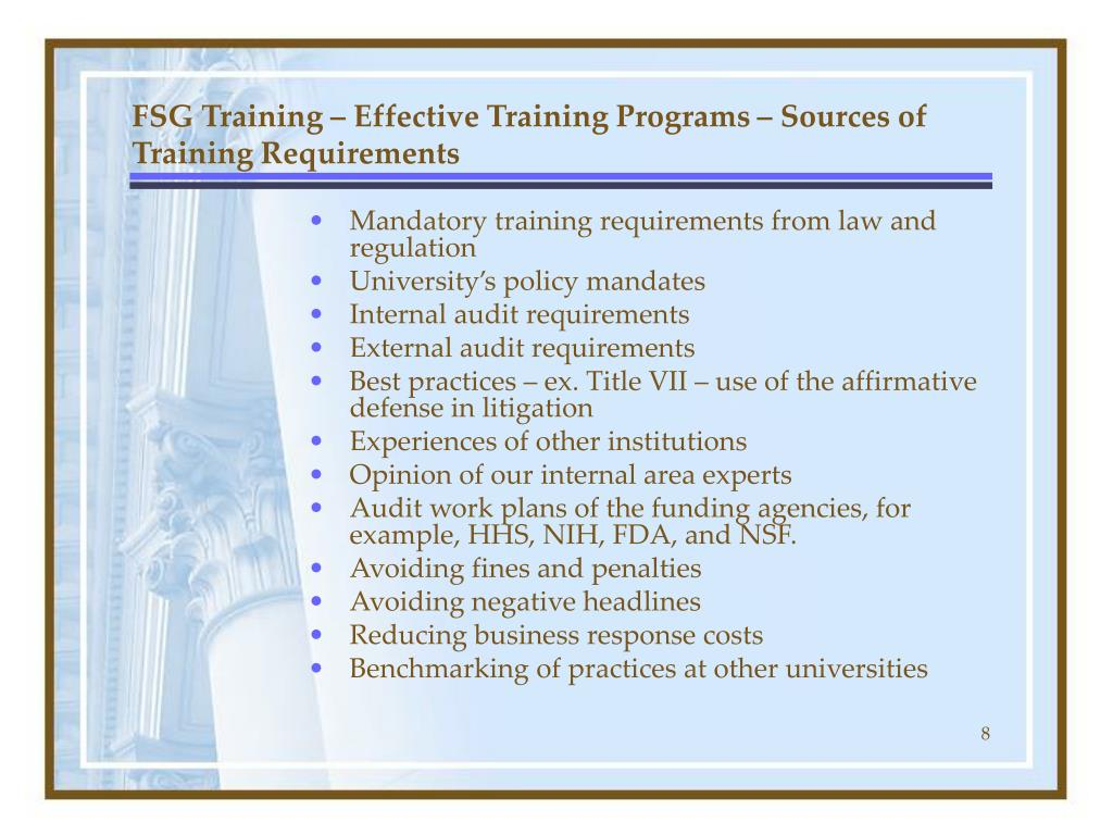 FSG Training – Effective Training Programs – Sources of Training Requirements