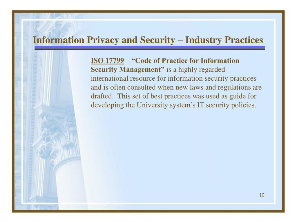 Information Privacy and Security – Industry Practices