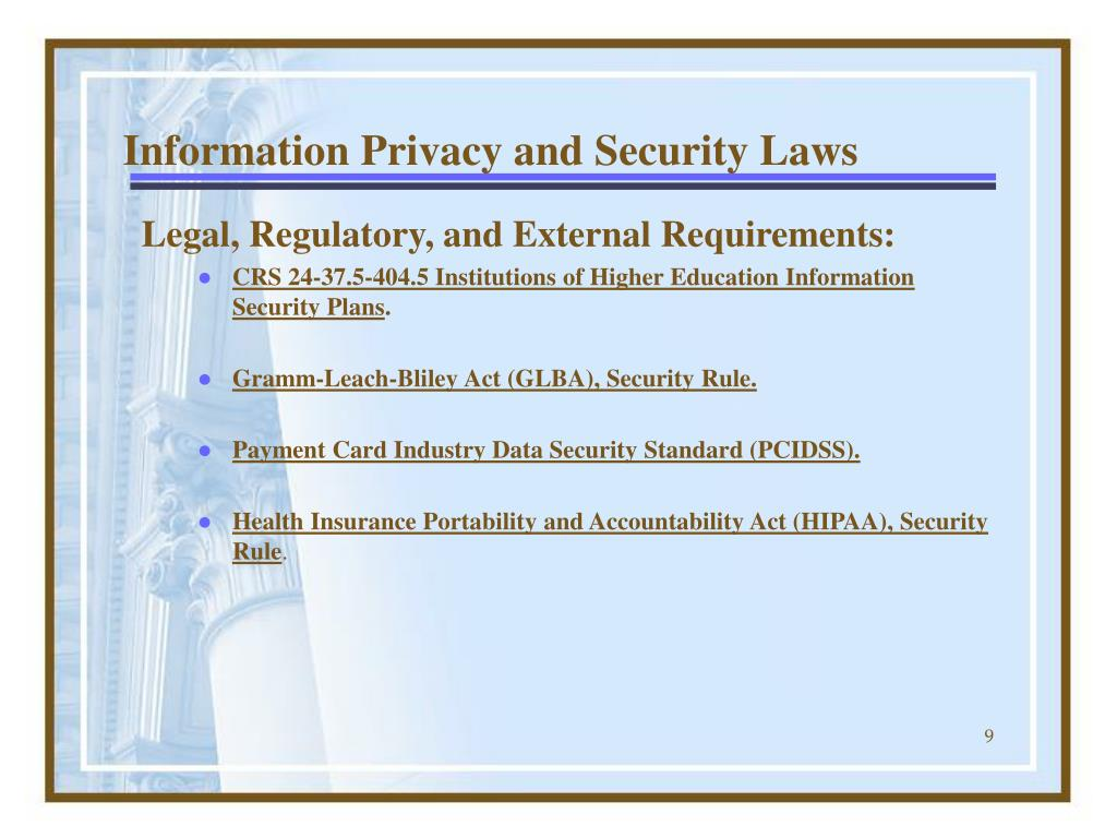Information Privacy and Security Laws